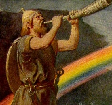 Deus Heimdallr com Gjallar
